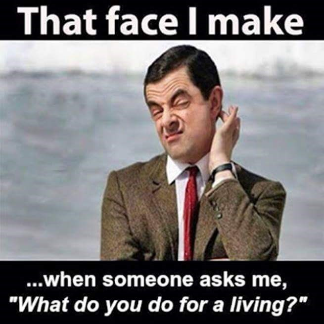 """meme - Photo caption - That face I make ...when someone asks me, """"What do you do for a living?"""""""