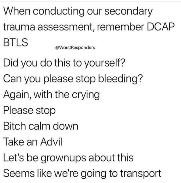 meme - Text - When conducting our secondary trauma assessment, remember DCAP BTLS @WorstResponders Did you do this to yourself? Can you please stop bleeding? Again, with the crying Please stop Bitch calm down Take an Advil Let's be grownups about this Seems like we're going to transport