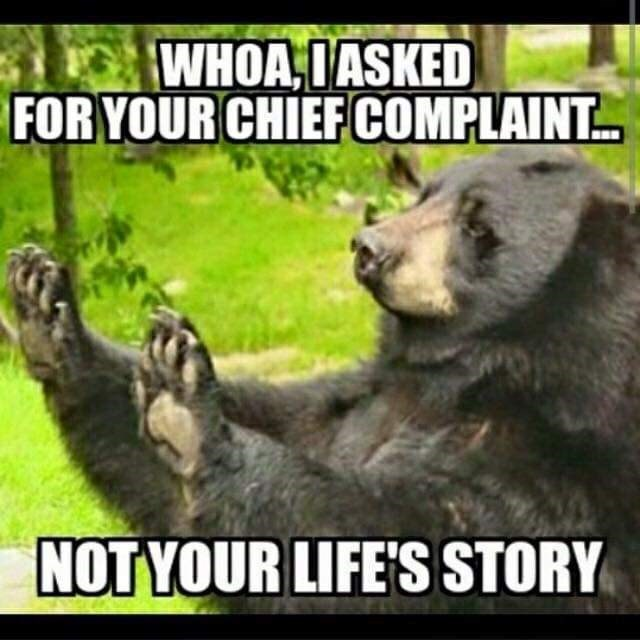 meme - Vertebrate - WHOA IASKED FOR YOUR CHIEF COMPLAINT NOTYOUR LIFE'S STORY