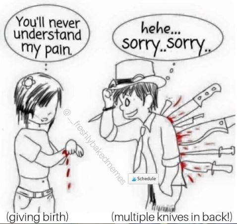 Cartoon - You'll never understand hehe... Sorry.sorry my pain Schedule (multiple knives in back!) (giving birth) freshlybakedmemes