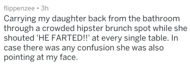 Text - flippenzee 3h Carrying my daughter back from the bathroom through a crowded hipster brunch spot while she shouted 'HE FARTED!!' at every single table. In case there was any confusion she was also pointing at my face
