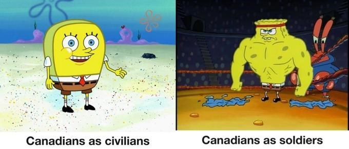 """First panel represents """"Canadians as civilians,"""" and second panel represents """"Canadians as soldiers"""""""