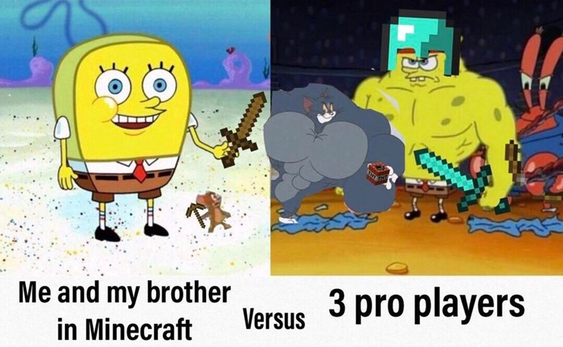 Cartoon - brother Me and my in Minecraft Versus 3 pro players