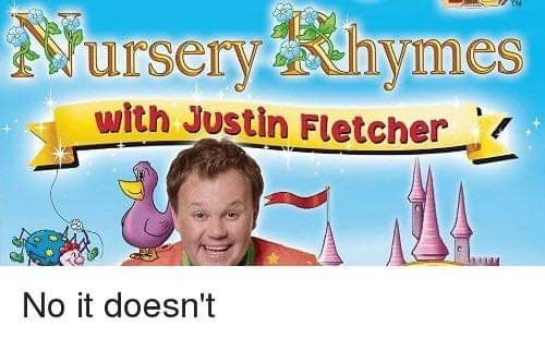 guy smiling in front of cartoon castle nursery rhymes with Justin Fletcher No it doesn't