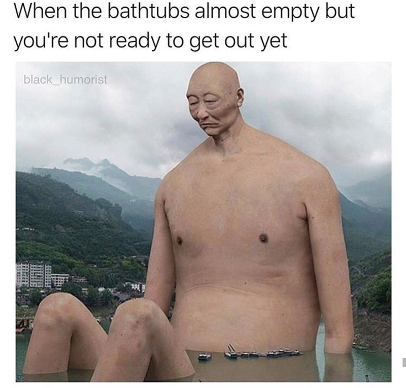 meme with an oversized man in a lake and when your bath is almost empty