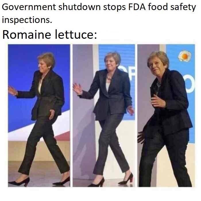meme about romaine lettuce getting eaten because the FDA was closed during the government shutdown