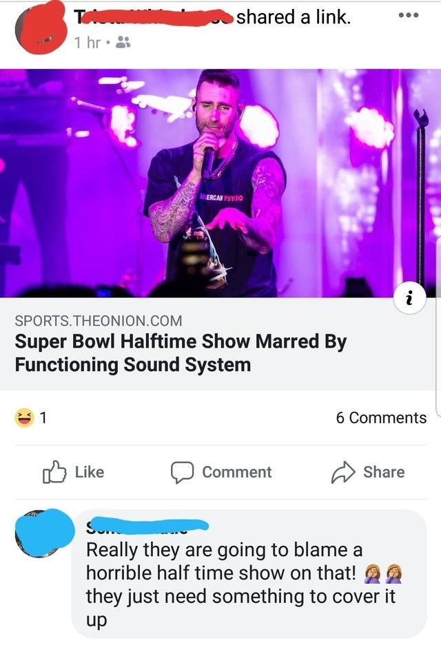 Text - T shared a link. 1 hr ERCAN PSYHO i SPORTS.THEONION.COM Super Bowl Halftime Show Marred By Functioning Sound System 1 6 Comments Like Share Comment S Really they are going to blame a horrible half time show on that! they just need something to cover it dn