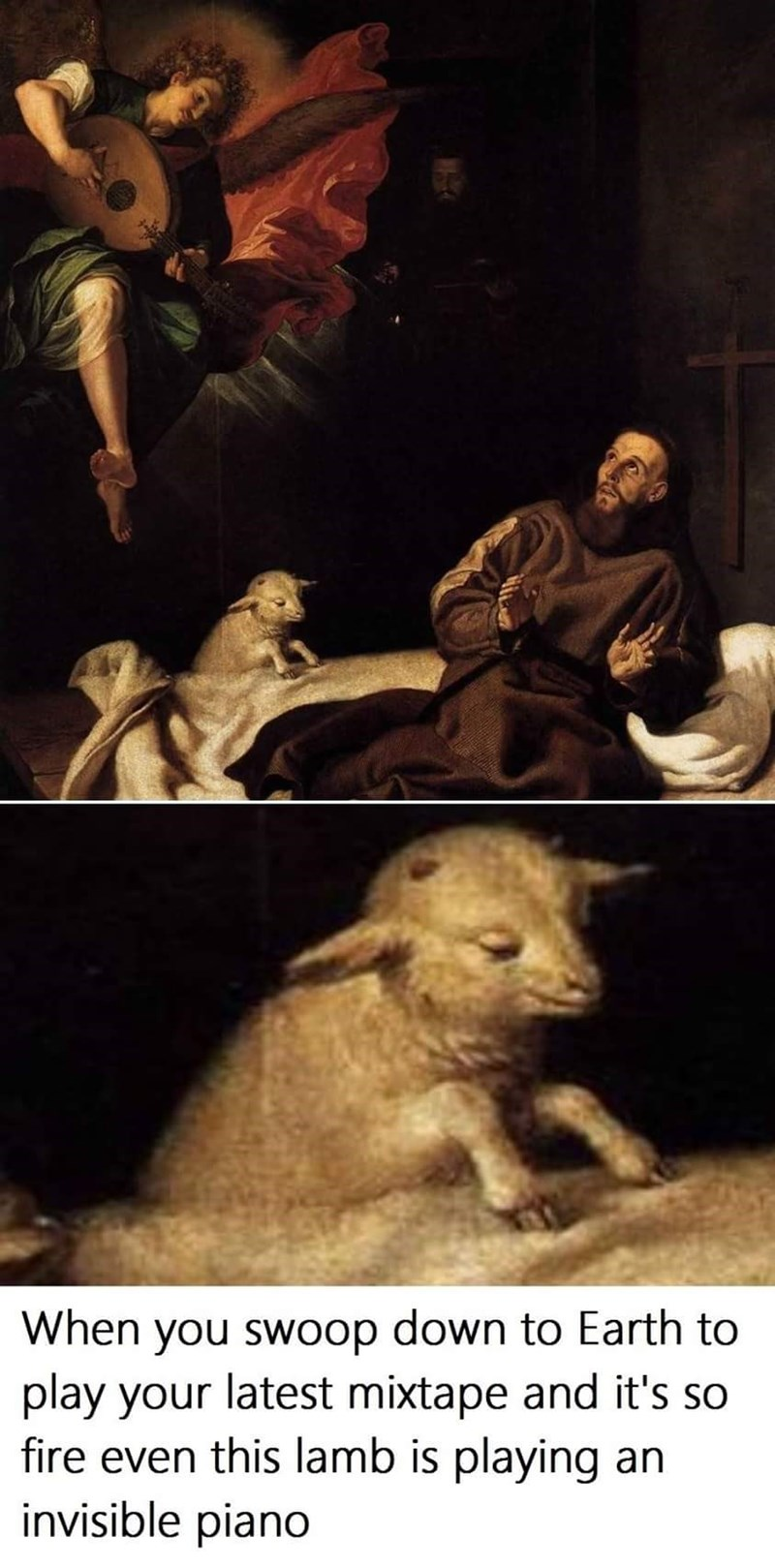 Human - When you swoop down to Earth to play your latest mixtape and it's so fire even this lamb is playing an invisible piano