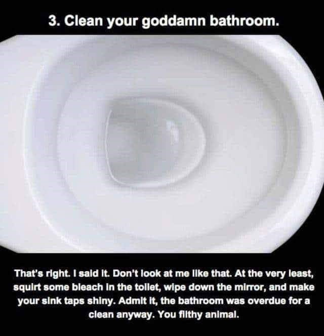 Dishware - 3. Clean your goddamn bathroom. That's right. I sald It. Don't look at me llke that. At the very least, squirt some bleach in the tollet, wipe down the mirror, and make your sink taps shiny. Admit it, the bathroom was overdue for a clean anyway. You filthy animal.
