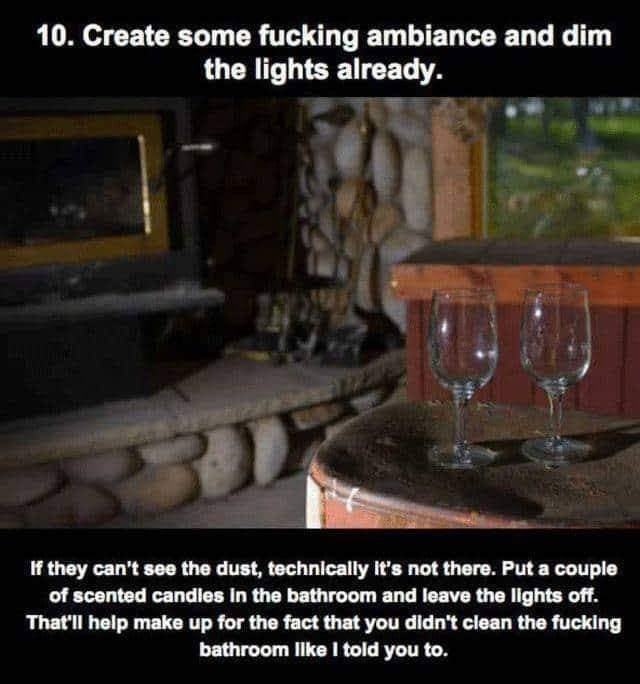 Photo caption - 10. Create some fucking ambiance and dim the lights already. If they can't see the dust, technically it's not there. Put a couple of scented candles in the bathroom and leave the lghts off. That'l help make up for the fact that you didn't clean the fucking bathroom lke I told you to.