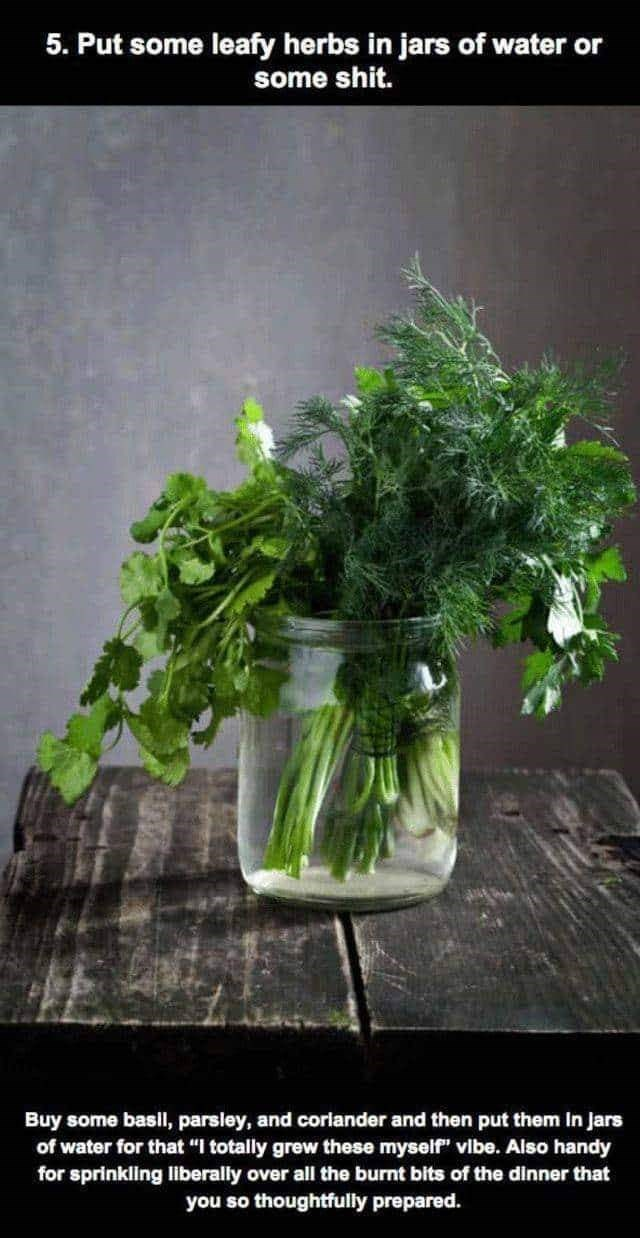 "Plant - 5. Put some leafy herbs in jars of water or some shit. Buy some basil, parsley, and corlander and then put them In Jars of water for that ""I totally grew these myself"" vibe. Also handy for sprinkling liberally over all the burnt bits of the dinner that you so thoughtfully prepared."