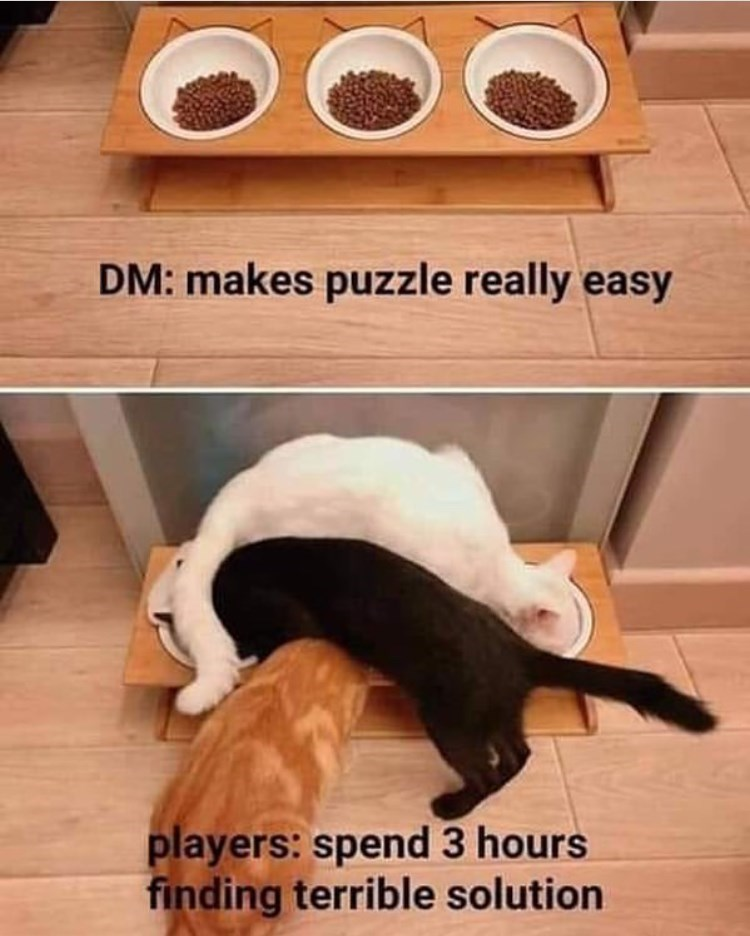 Photo caption - DM: makes puzzle really easy players: spend 3 hours finding terrible solution