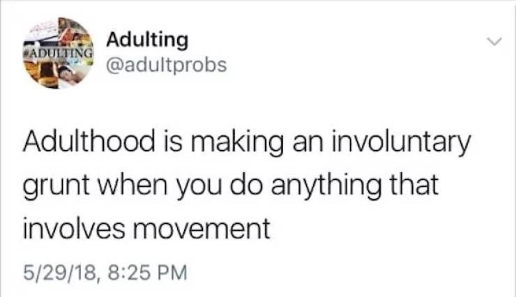 Text - Adulting ADULTING@adultprobs Adulthood is making an involuntary grunt when you do anything that involves movement 5/29/18, 8:25 PM