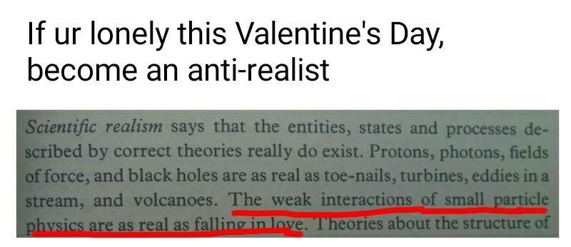 """Caption that reads, """"If you're lonely this Valentine's Day, become an anti-realist"""" above text from a book that reads, """"The weak interactions of small particle physics are as real as falling in love"""""""