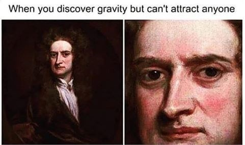 """Caption that reads, """"When you discover gravity but can't attract anyone"""" above paintings of Isaac Newton"""
