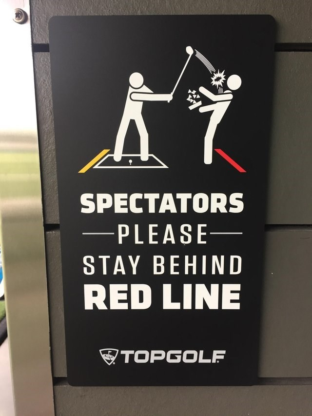 Poster - SPECTATORS -PLEASE STAY BEHIND RED LINE TOPGOLF