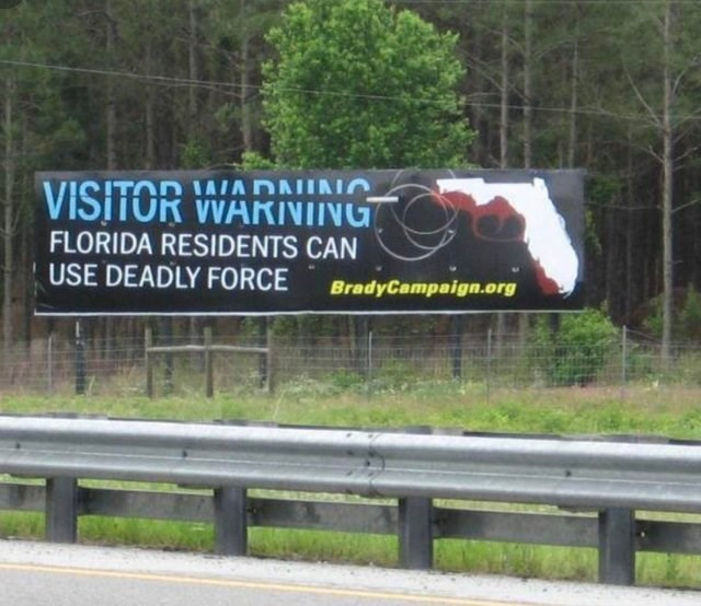 Advertising - IAIA DNINIO VISITOR WARINING FLORIDA RESIDENTS CAN USE DEADLY FORCE BradyCampaign.org