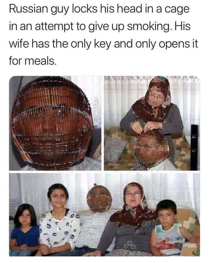 Product - Russian guy locks his head in a cage in an attempt to give up smoking. His wife has the only key and only opens it for meals.