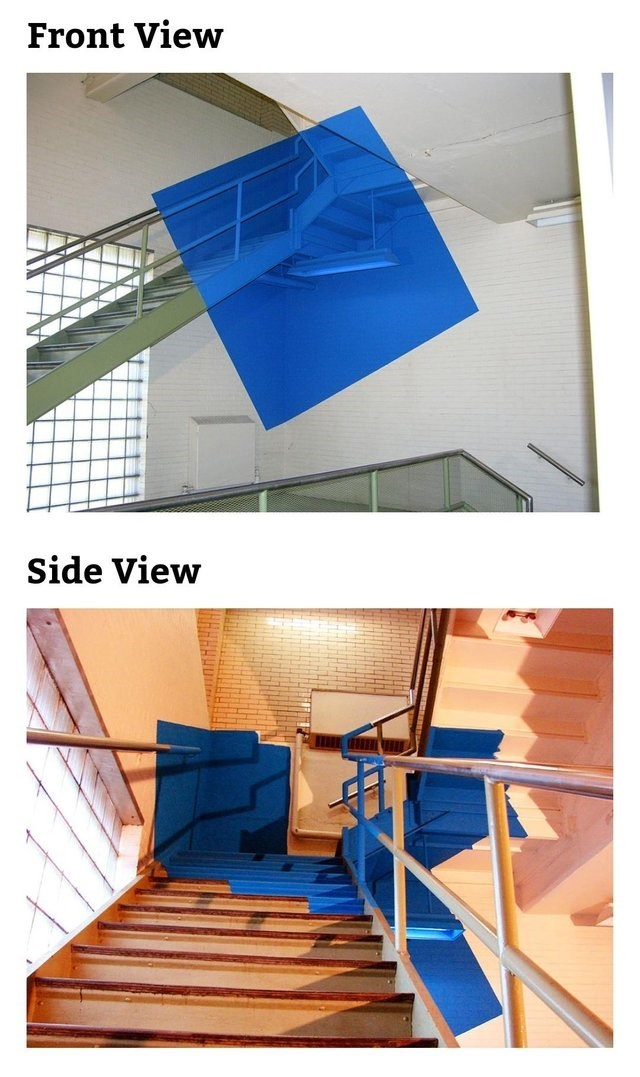 optical illusion - Stairs - Front View Side View