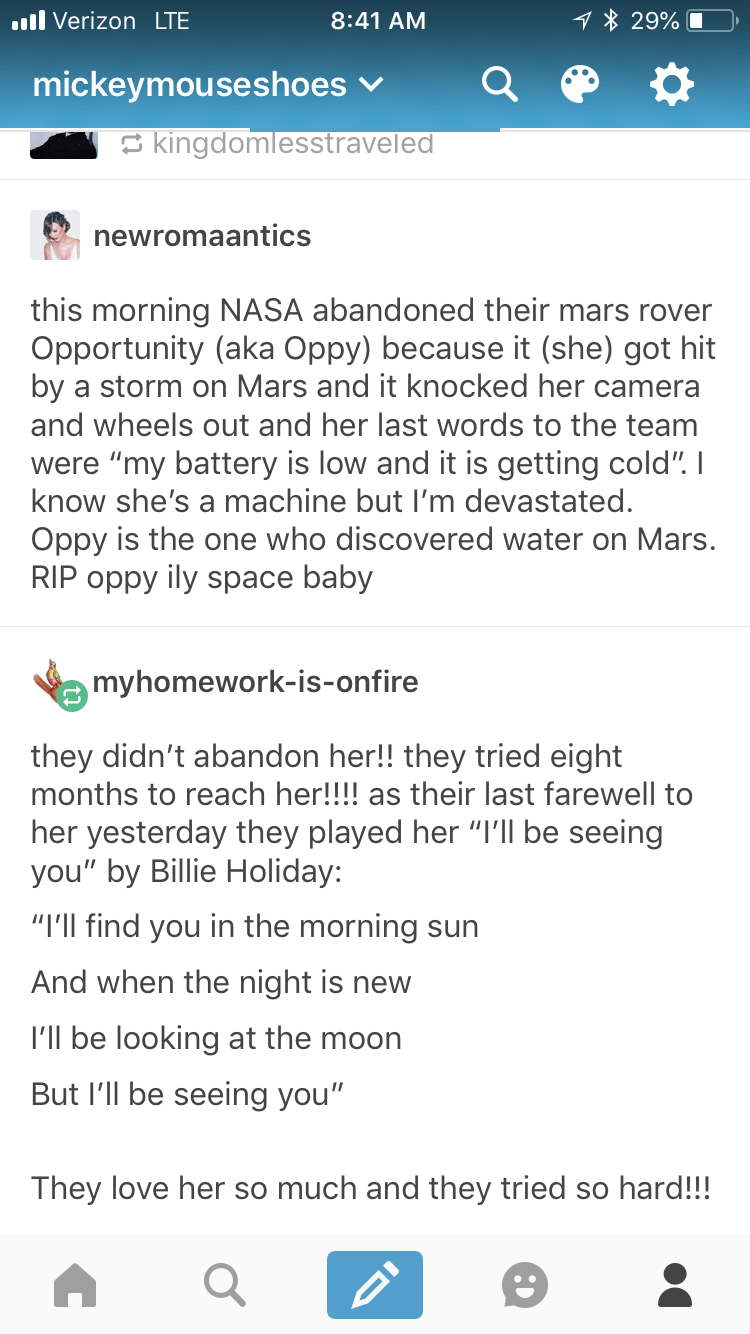 Tumblr post about how NASA abandoned Opportunity when she got hit by a storm