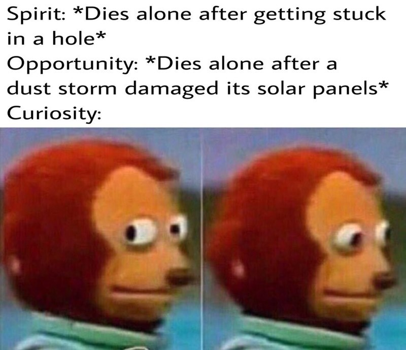 """Caption that reads, """"Spirit: *Dies alone after getting stuck in a hole;* Opportunity: *Dies alone after a dust storm damaged its solar panels;* Curiosity: ..."""" above pics of a monkey character looking nervously around"""