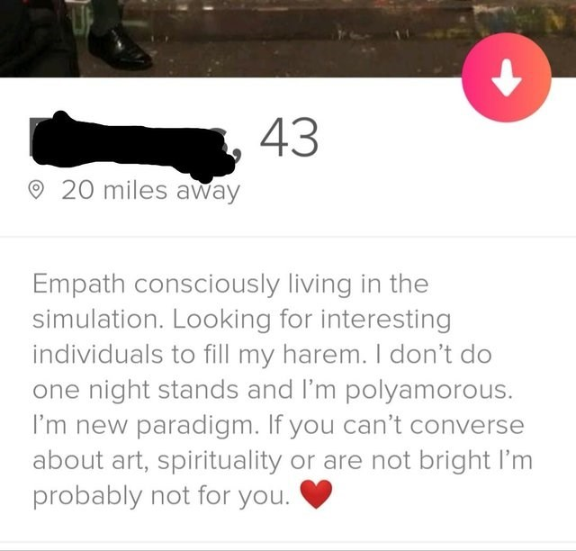 Text - 43 20 miles away Empath consciously living in the simulation. Looking for interesting individuals to fill my harem. I don't do one night stands and I'm polyamorous. I'm new paradigm. If you can't converse about art, spirituality or are not bright I'm probably not for you.