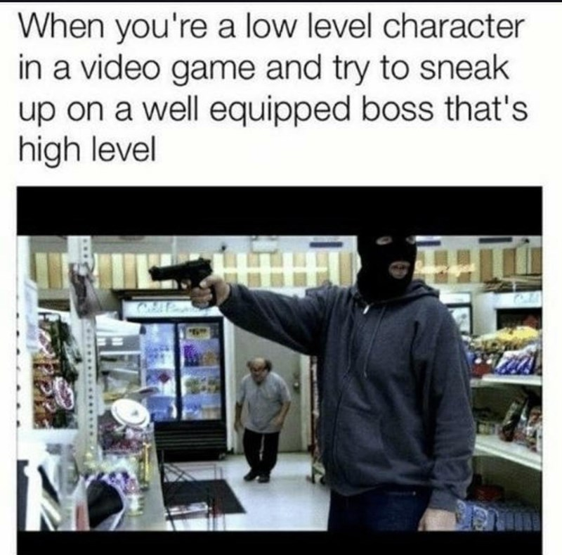 Photography - When you're a low level character in a video game and try to sneak up on a well equipped boss that's high level
