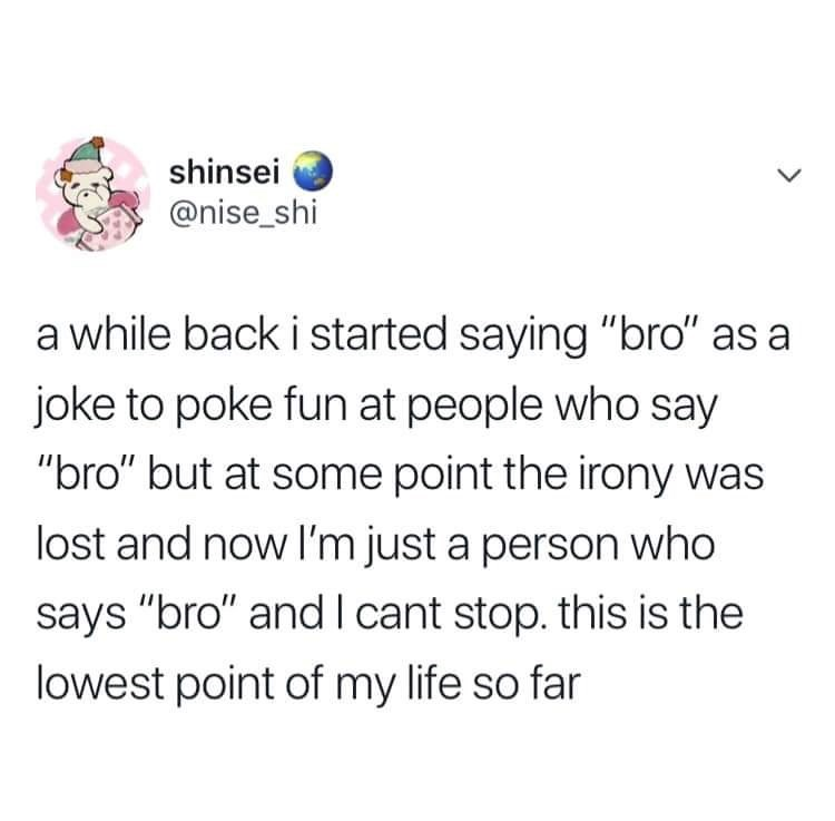 """Text - shinsei @nise_shi a while back i started saying """"bro"""" as joke to poke fun at people who say """"bro"""" but at some point the irony was lost and now I'm just a person who says """"bro"""" and I cant stop. this is the lowest point of my life so far"""