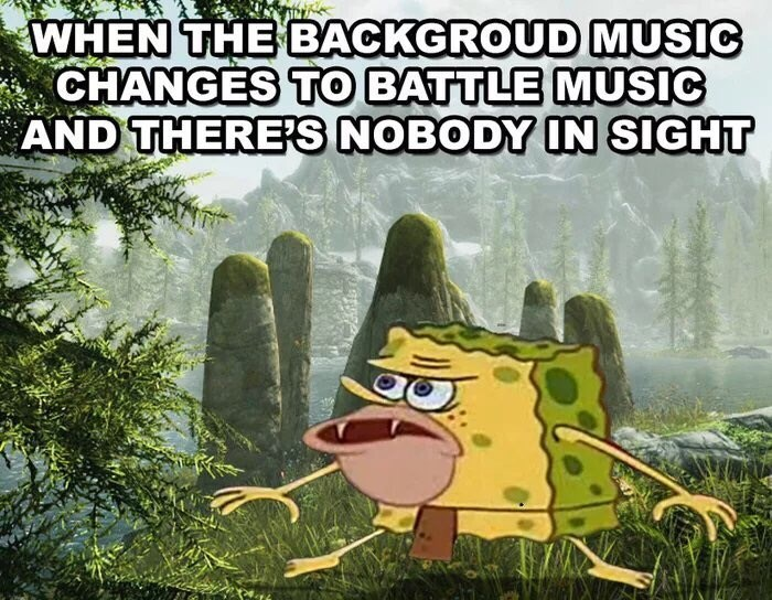Cartoon - WHEN THE BACKGROUD MUSIC CHANGES TO BATTLE MUSIC AND THERES NOBODY IN SIGHT