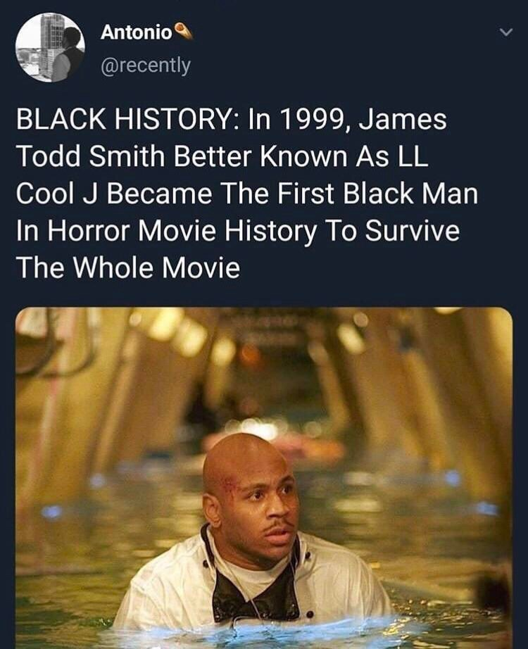 Text - Antonio @recently BLACK HISTORY: In 1999, James Todd Smith Better Known As LL Cool J Became The First Black Man In Horror Movie History To Survive The Whole Movie