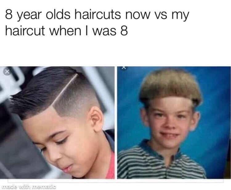 Hair - 8 year olds haircuts now vs my haircut when I was 8 wade with mematic