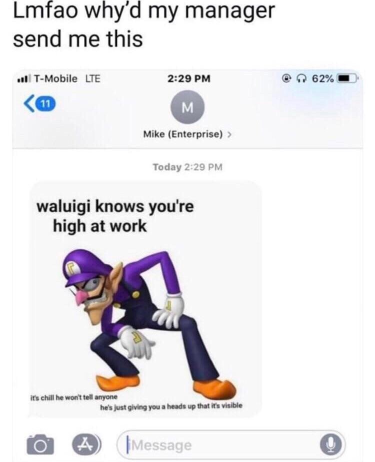 Text - Lmfao why'd my manager send me this T-Mobile LTE 2:29 PM 62% 11 M Mike (Enterprise) Today 2:29 PM waluigi knows you're high at work it's chill he won't tell anyone he's just giving you a heads up that it's visible Message 4