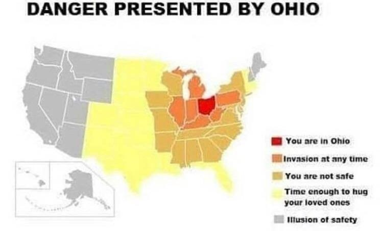 "Caption that reads, ""Danger presented by Ohio"" above a map of the United States where Ohio is portrayed as a danger zone"