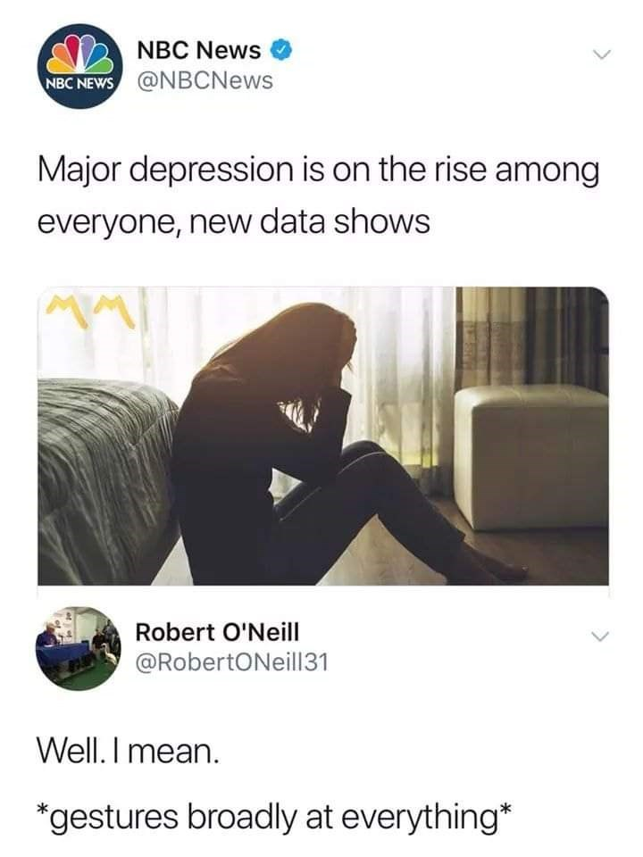 "NBC headline that reads, ""Major depression is on the rise among everyone, new data shows;"" someone replies below, ""Well. I mean. *Gestures broadly at everything"""