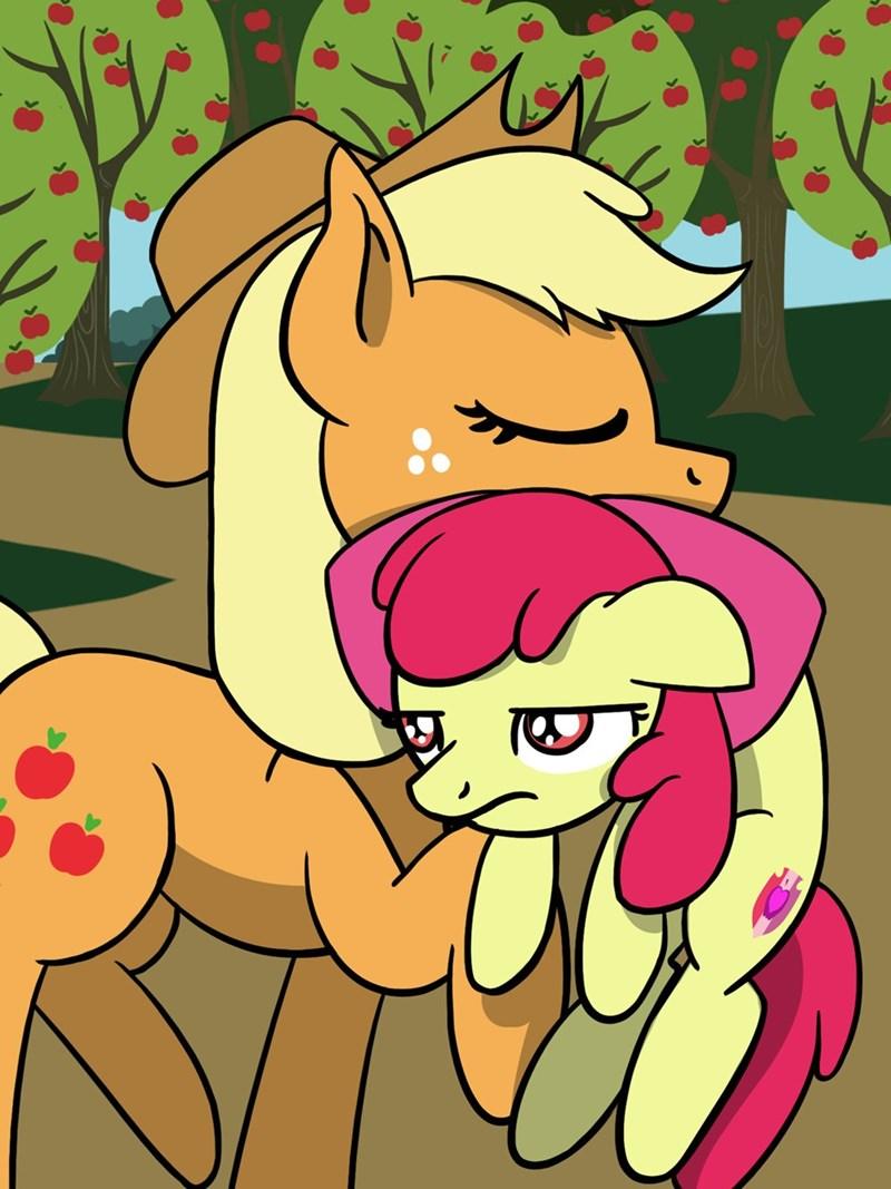 applejack apple bloom flutterluv acting like animals - 9271891456