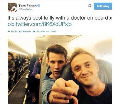 meme - Selfie - Tom Felton TomFelton Following It's always best to fly with a doctor on board x pic.twitter.com/8K6XdUPxjp Reply 13 Retweet Favorite More