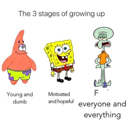 meme - Cartoon - The 3 stages of growing up F Young and dumb Motivated and hopeful everyone and everything
