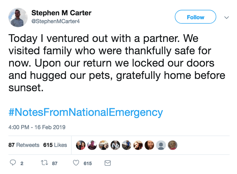 screenshot of twitter post about national emergency Today I ventured out with a partner. We visited family who were thankfully safe for now. Upon our return we locked our doors and hugged our pets, gratefully home before sunset #NotesFromNationalEmergency