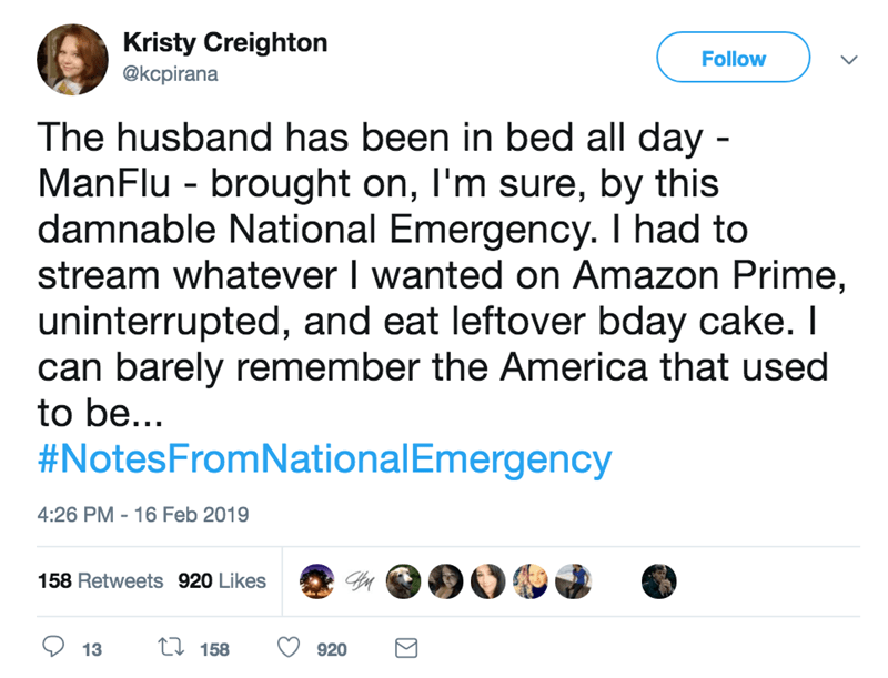 screenshot of twitter post about national emergency The husband has been in bed all day - ManFlu brought on, I'm sure, by this damnable National Emergency. I had to stream whatever I wanted on Amazon Prime, uninterrupted, and eat leftover bday cake. I can barely remember the America that used to be... #NotesFromNationalEmergency
