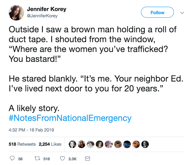 "screenshot of twitter post about national emergency Outside I saw a brown man holding a roll of duct tape. I shouted from the window, ""Where are the women you've trafficked? You bastard!"" He stared blankly. ""It's me. Your neighbor Ed I've lived next door to you for 20 years."" A likely story #NotesFromNationalEmergency"