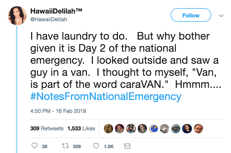 "screenshot of twitter post about national emergency I have laundry to do. But why bother given it is Day 2 of the national emergency. looked outside and saw a guy in a van. I thought to myself, ""Van, is part of the word caraVAN."" Hmmm.... #NotesFromNationalEmergency"