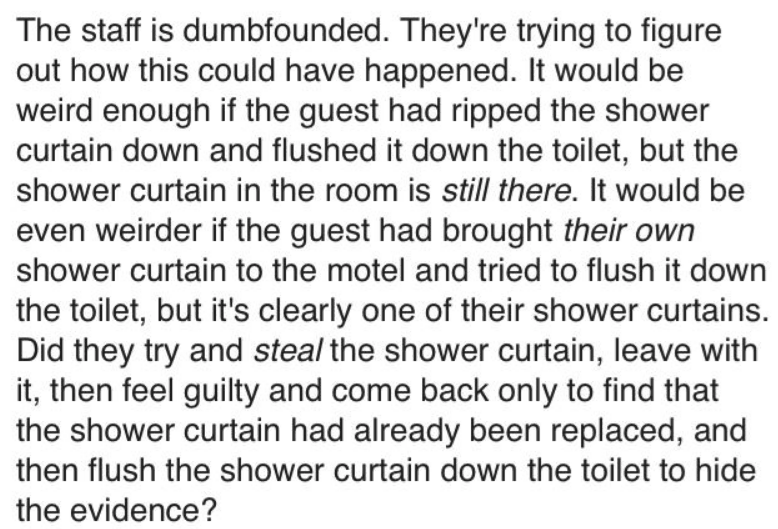 Text - The staff is dumbfounded. They're trying to figure out how this could have happened. It would be weird enough if the guest had ripped the shower curtain down and flushed it down the toilet, but the shower curtain in the room is still there. It would be even weirder if the guest had brought their own shower curtain to the motel and tried to flush it down the toilet, but it's clearly one of their shower curtains. Did they try and steal the shower curtain, leave with it, then feel guilty and