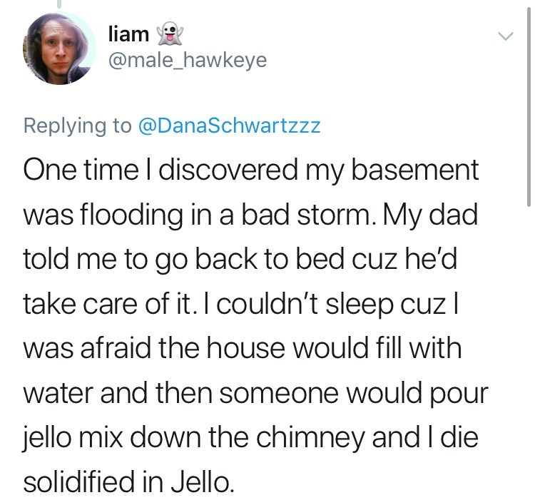 Text - liam @male_hawkeye Replying to @DanaSchwartzzz One time I discovered my basement was flooding in a bad storm. My dad told me to go back to bed cuz he'd take care of it.I couldn't sleep cuz l was afraid the house would fill with water and then someone would pour jello mix down the chimney and I die solidified in Jello.
