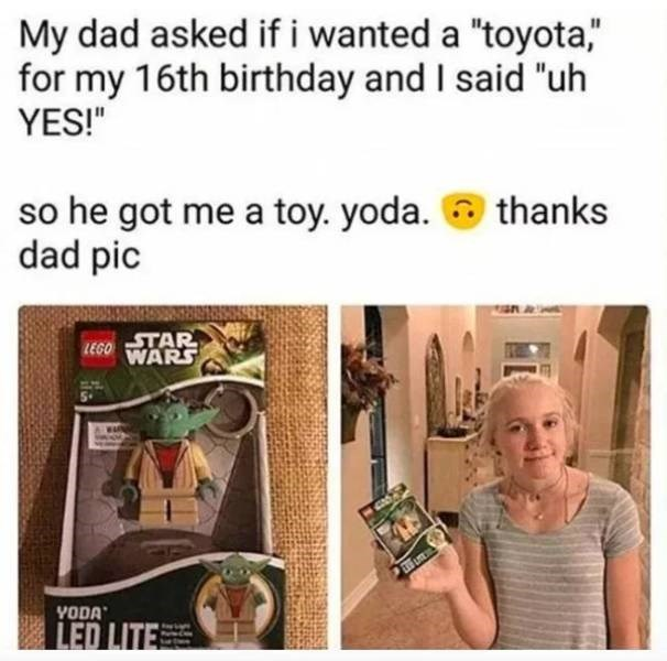 "Organism - My dad asked if i wanted a ""toyota,"" for my 16th birthday and I said ""uh YES!"" so he got me a toy. yoda. dad pic thanks STAR LEGO WARS YODA LED LITE"