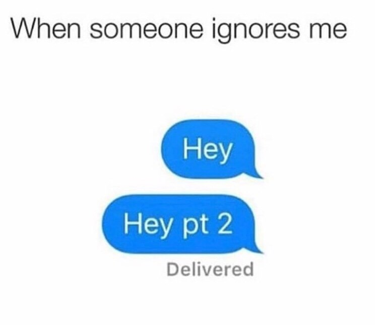 Text - When someone ignores me Нey Hey pt 2 Delivered