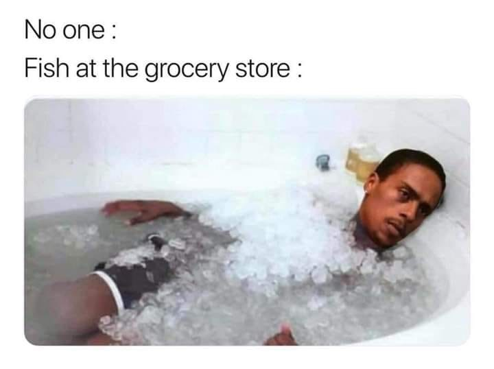 "Caption that reads, ""No one: ...; Fish at the grocery store: ..."" above a pic of a guy with a deadpan expression lying in a bathtub full of ice"