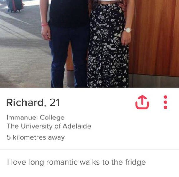 Clothing - Richard, 21 Immanuel College The University of Adelaide 5 kilometres away I love long romantic walks to the fridge