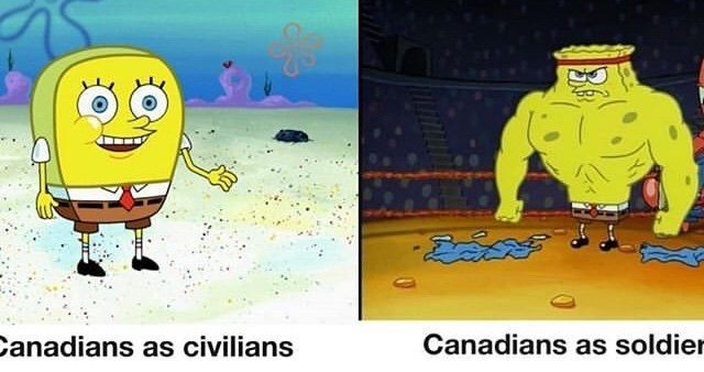 Cartoon - Canadians as soldier anadians as civilians