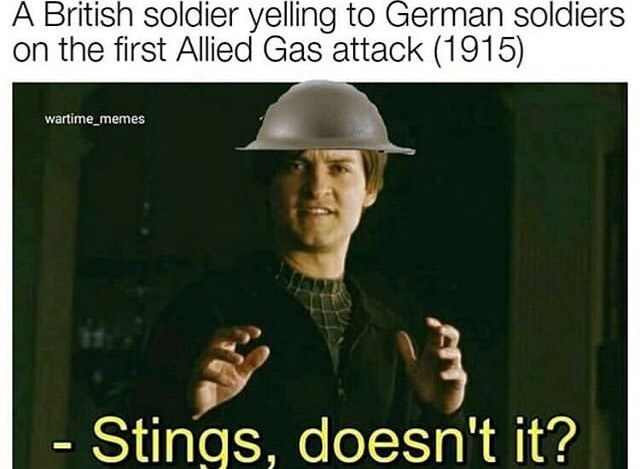 Photo caption - A British soldier yelling to German soldiers on the first Allied Gas attack (1915) wartime_memes Stings, doesn't it?