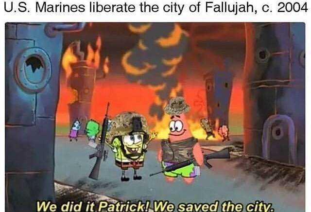 Action-adventure game - U.S. Marines liberate the city of Fallujah, c. 2004 We did it Patrick! We saved the city.